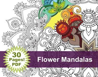 Flower Mandala Coloring book 30 Pages - Printable Pdf - Blank Mandala Designs to Print and Color, Adult Coloring, Coloring sheet,
