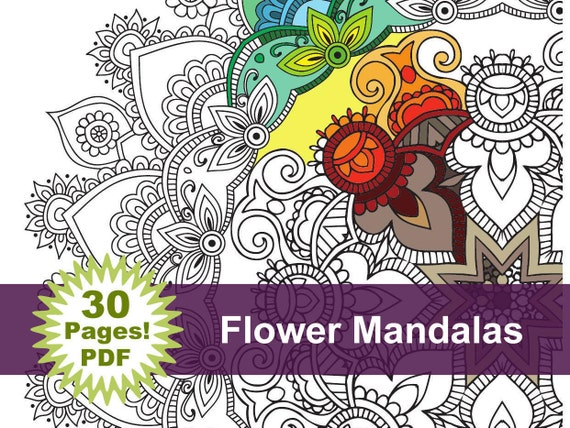 - Flower Mandala Coloring Book 30 Pages Printable Pdf Blank Etsy