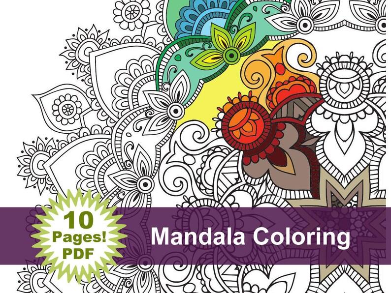 Mandala Coloring 10 Pages Printable Pdf Blank Mandala Etsy