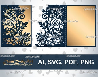 5x7'' Roses Wedding Invitation Card laser Cut Template roses lace stencil (ai, svg, pdf, png) vector file pattern, Digital Download