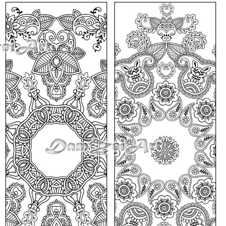 Flower Mandalas Coloring Bookmarks, Bookmark coloring, printable bookmarks,  Coloring Adults Bookmark, Digital Download