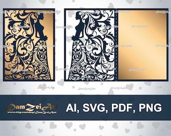 5x7 wedding invitation card laser cut template ai bride laser cut template 5x7 wedding invitation card ai svg pdf stopboris Choice Image