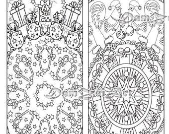 Bookmark coloring, Merry Christmas Coloring Bookmarks, New Year Bookmarks, printable bookmarks, Coloring Adults Bookmark, Digital Download