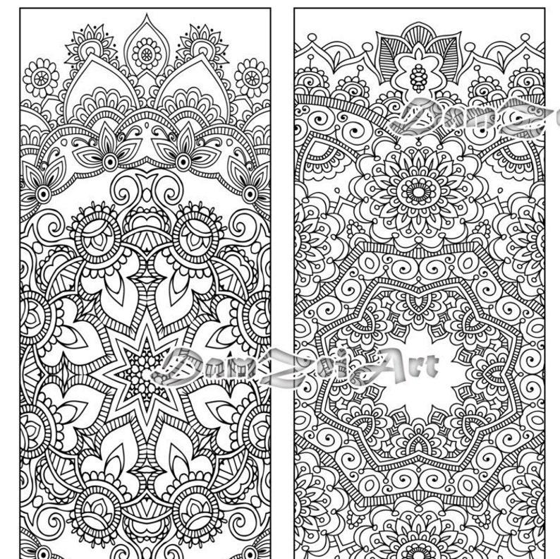 Bookmark coloring Flower Mandalas Coloring Bookmarks | Etsy
