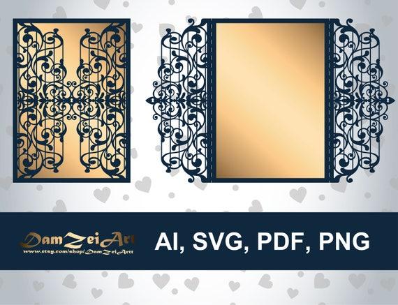 Gate Fold 5 X7 Iron Door Laser Cut Template Wedding Invitation Card Ai Svg Pdf Png Vector File Pattern Ornamental Panels Download