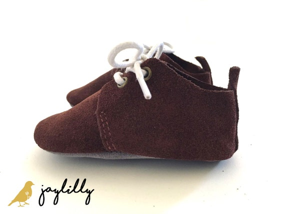 e625a6fdbccf6 Dark Brown Baby Shoe Oxford Genuine Leather; Baby Moccasins, Soft Sole Baby  Shoes