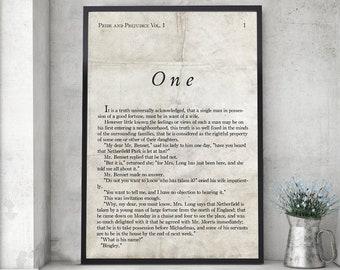 Pride and Prejudice Print, Jane Austen, Book Page Print, Literary Print, Wall Art Decor, Library Print, Monochromatic, Book Quote