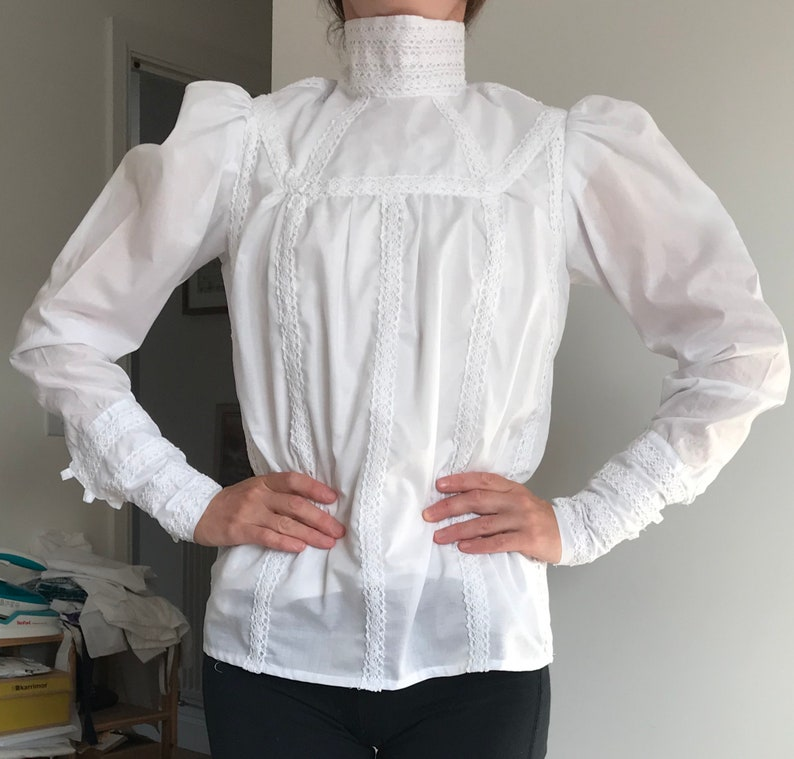 Edwardian Blouses |  Lace Blouses & Sweaters Victorian Edwardian style Women girls blouse long sleeve yoke high collar back closure historical costume size 4-30 $94.46 AT vintagedancer.com