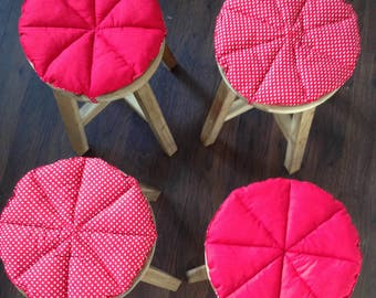 Set of 4 Round Stool Chair Cover Cushion Seat Tie Pads Kitchen Dining pizza style