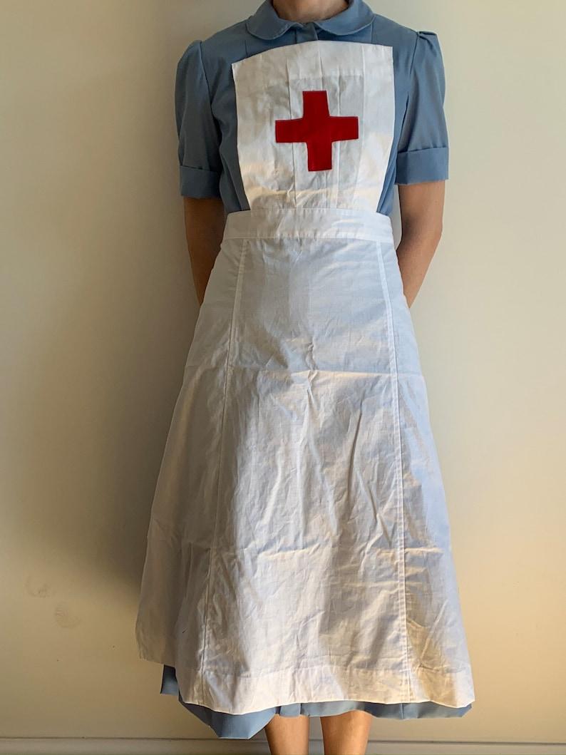 Victorian Edwardian Apron, Maid Costume & Patterns WWII Nurse Uniform Apron Handmade WW2 Historical Costume new size 2-30 $34.64 AT vintagedancer.com