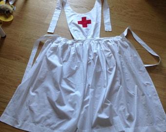 American US WW1 WWI Red Cross Nurse Uniform Style Full Apron Historical Costume