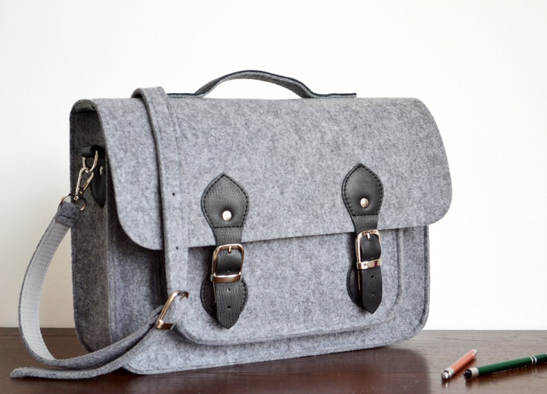 LAPTOP BAG 15-INCH Felt Satchel Messenger Bag Felt Crossbody Bag Custom Size Laptop Bag \u2013 Macbook Pro 15-inch Bag