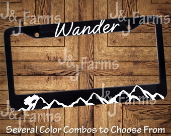 cc084606 Wander with Mountain License Plate Frame - jeep Inspired