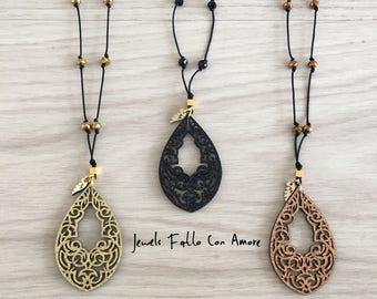 Handmade laser cut acrylic and leather teardrop pendant necklace 81e6ba8cb45b