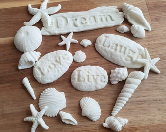 Edible Sugar White Seashells, Stones and Driftwood Cake Cupcake Toppers Beach Wedding Party Mermaid Cake