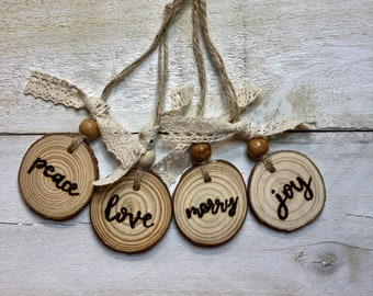 Peace, Love, Joy, Merry | Hand Burned Christmas Ornaments | Holidays | Decor | Wood Burning | Pyrography | Custom Art | Christmas Gift