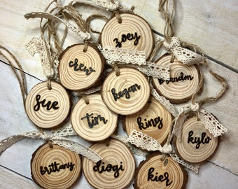 Hand Lettering Custom Burned Wood Tags | Ornaments | Stocking | Place Settings | Holidays | Wood Burning | Pyrography | Personalized