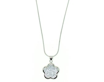 Women's necklace with 925 Silver Swarovski crystal flower pendant.