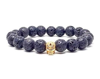 Men's bracelet with Lava stone and gold skull.