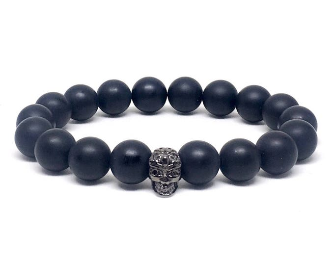 Men's Beaded Bracelet with Matte Onyx and GunMetal Skull, Matte Onyx Bracelet, Beaded Bracelet, Men's Bracelet, Men's Beaded Bracelet