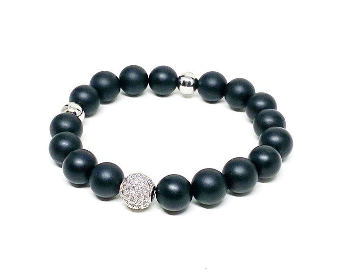Men's bracelet with Onyx, Cubic Zirconia and stainless steel crown logo beads.