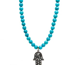 Men's beaded necklace made with Turquoise and 925 Silver Hamsa pendant.