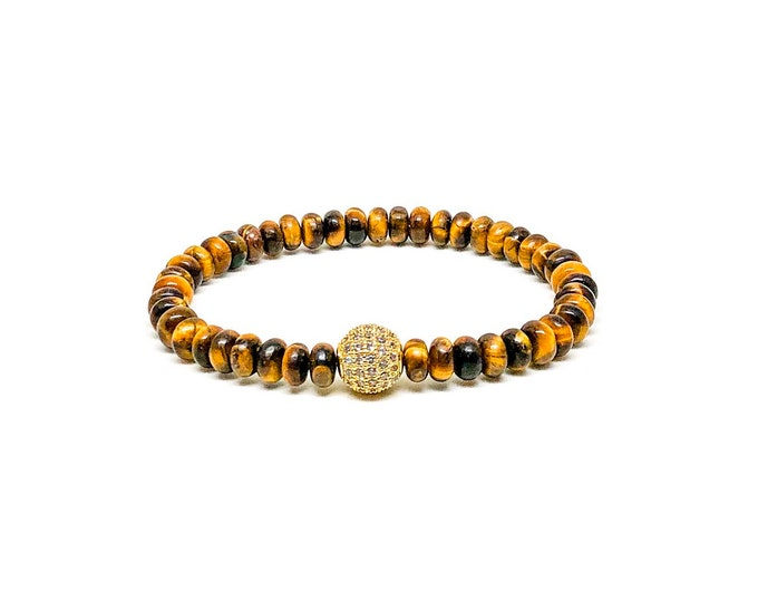 Men's bracelet with Tiger Eye and gold CZ.