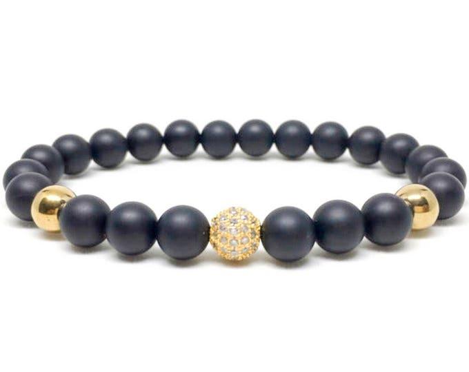 Men's bracelet with CZ Diamond, gold Hematite and Matte Onyx, mens bracelet, beaded bracelet, mens beaded bracelet, handmade bracelet