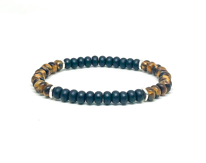 Men's bracelet with Onyx, Tiger Eye and Sterling Silver.
