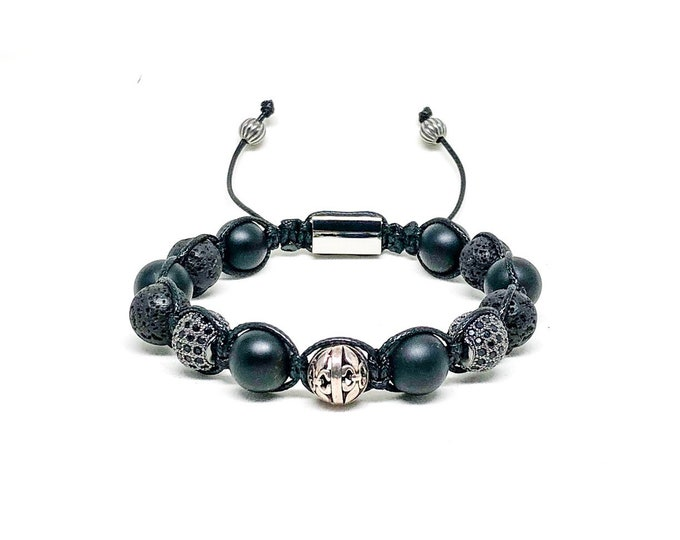 Men's bracelet with Matte Onyx, Lava, CZ, Sterling Silver and Stainless Steel signature Gregorio New York logo.
