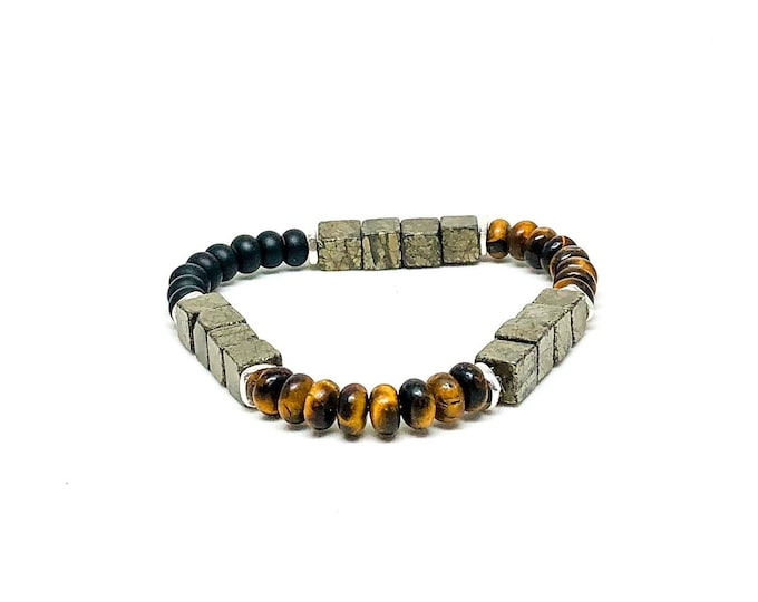 Men's bracelet with Copper Pyrite, Onyx, Tiger Eye and Sterling Silver.