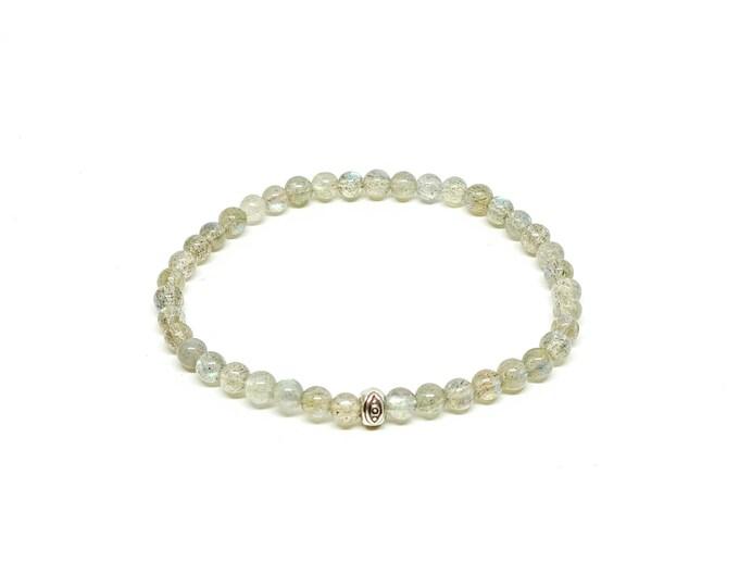 Labradorite with silver tribal eye bracelet.