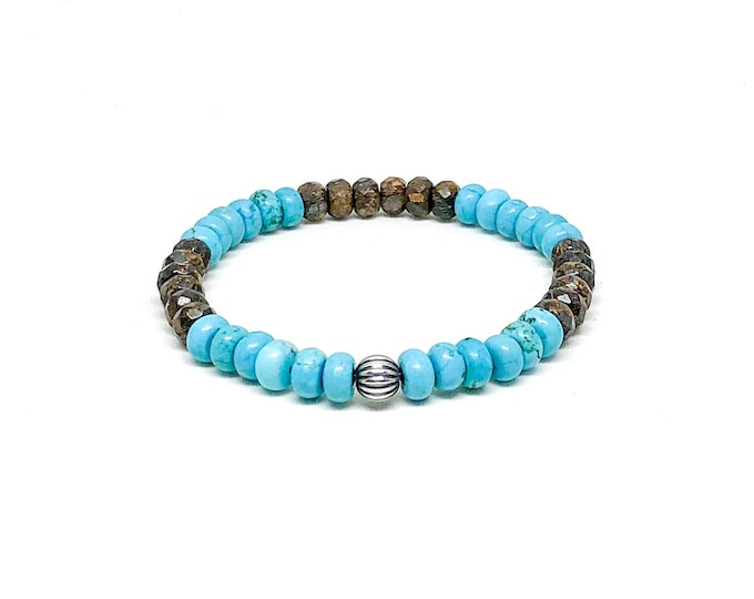 Men's braceler with Toffee Bar Bronzite, Turquoise and 925 Silver bead.
