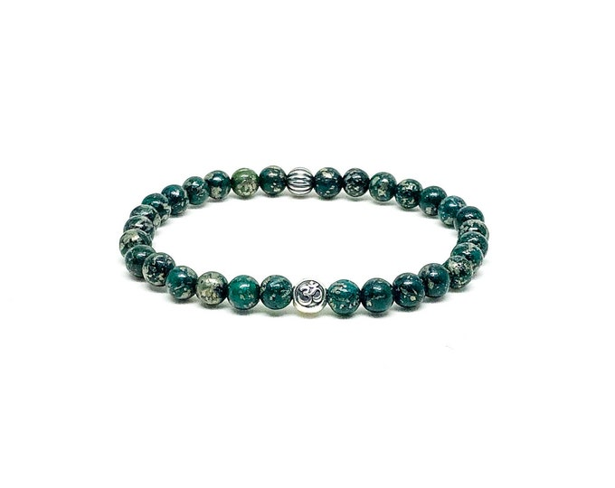 Men's bracelet with Dark Green Pyrite and Sterling Silver.