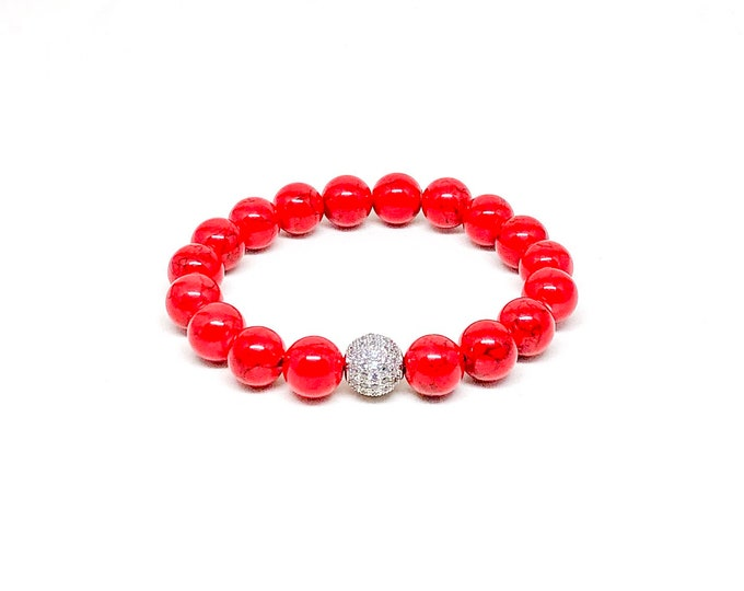 Women's bracelet with Red Jade and Cubic Zirconia.