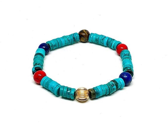 Men's bracelet with Turquoise Heishi, Red Jade, Lapis and Tiger Eye.