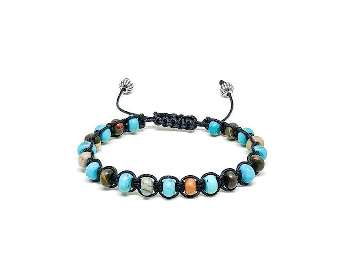 Men's bracelet with turquoise, picasso jasper and 925 silver beads.
