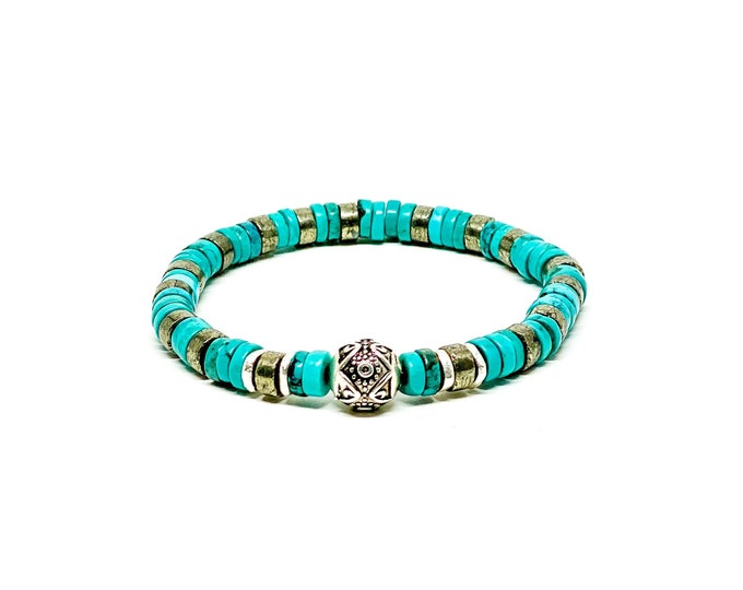 925 Bali sterling silver with Turquoise and Copper Pyrite bracelet.