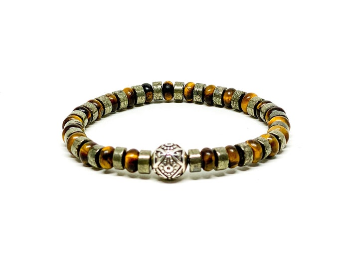925 Bali sterling silver bracelet with Pyrite and tiger eye.