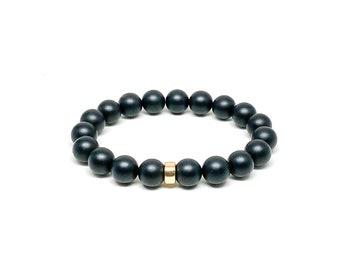 Men's bracelet with Matte Onyx and 14k Gold Filled.