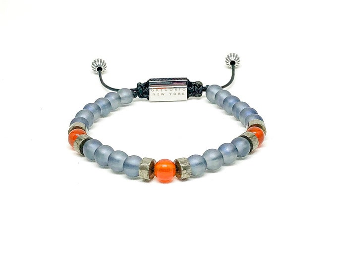 Men's bracelet with Iolite, Carnelian, Pyrite, 925 Silver and Stainless Steel signature Gregorio New York logo.