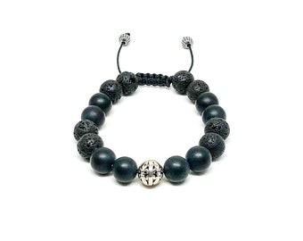 Men's bracelet with 925 Siver, Matte Onyx and Lava Stones.