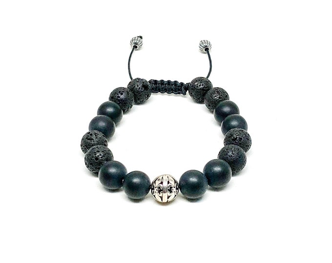 Men's bracelet with 925 Siver, Matte Onyx and Lava Stones.