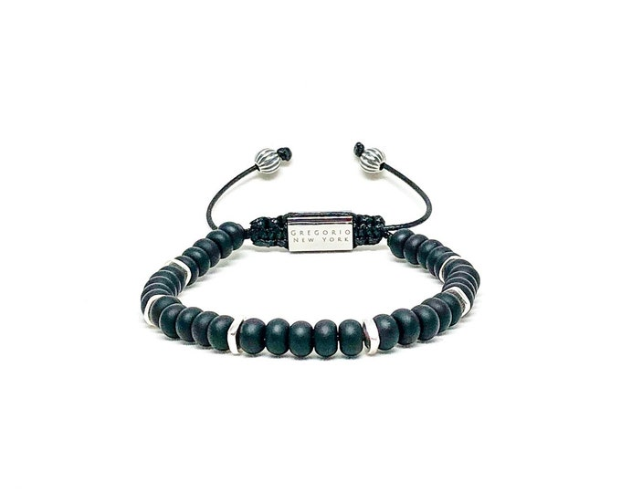 Men's bracelet with Onyx and Sterling Sterling spacers.