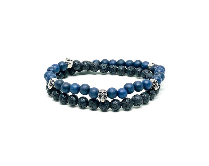 Men's bracelet with Dark Blue Jade, Lava and Sterling Silver.