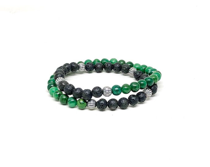 Men's bracelet with African Jade, Lava Stone and 925 Silver.