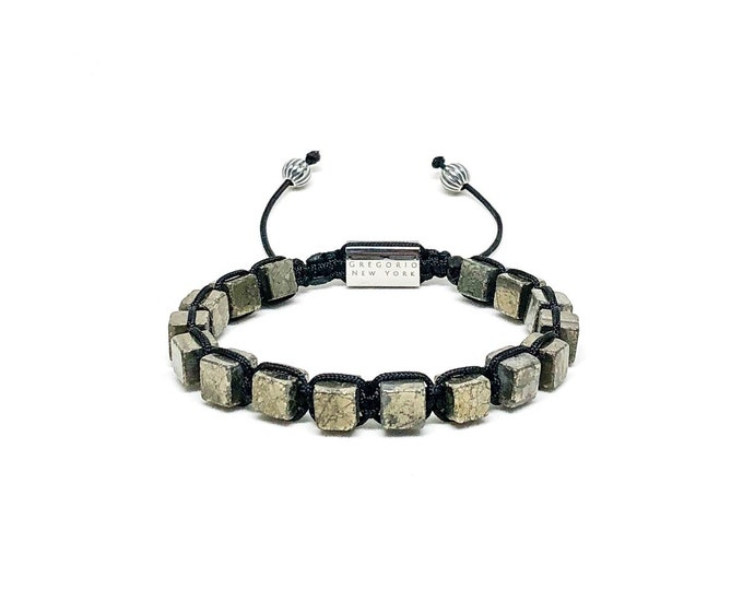 Men's Copper Pyrite bracelet with 316L Silver and Sterling Silver.