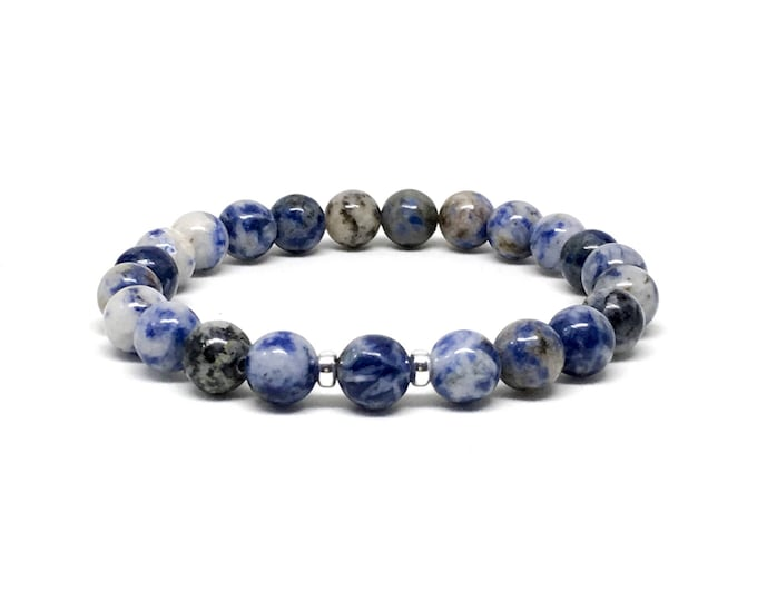 Beautiful men's bracelet made with Sodalite and 925 Silver spacers, mens beaded bracelet, mens bracelet, beaded bracelet, bracelet
