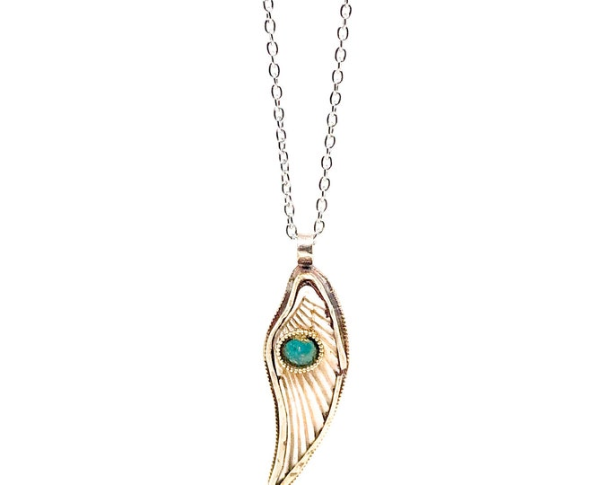 Men's stainless steel necklace with bone angel wing with turquoise.