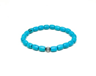 Men's beaded bracelet with Turquoise and 925 Silver.